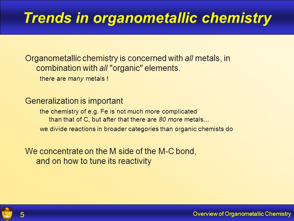 Overview of Organometallic Chemistry 6 Elements of interest Organic elements Main group metals Transition metals
