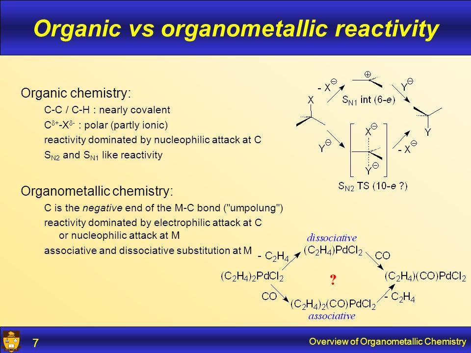 Overview of Organometallic Chemistry 8 Main-group organometallics s and p orbitals.