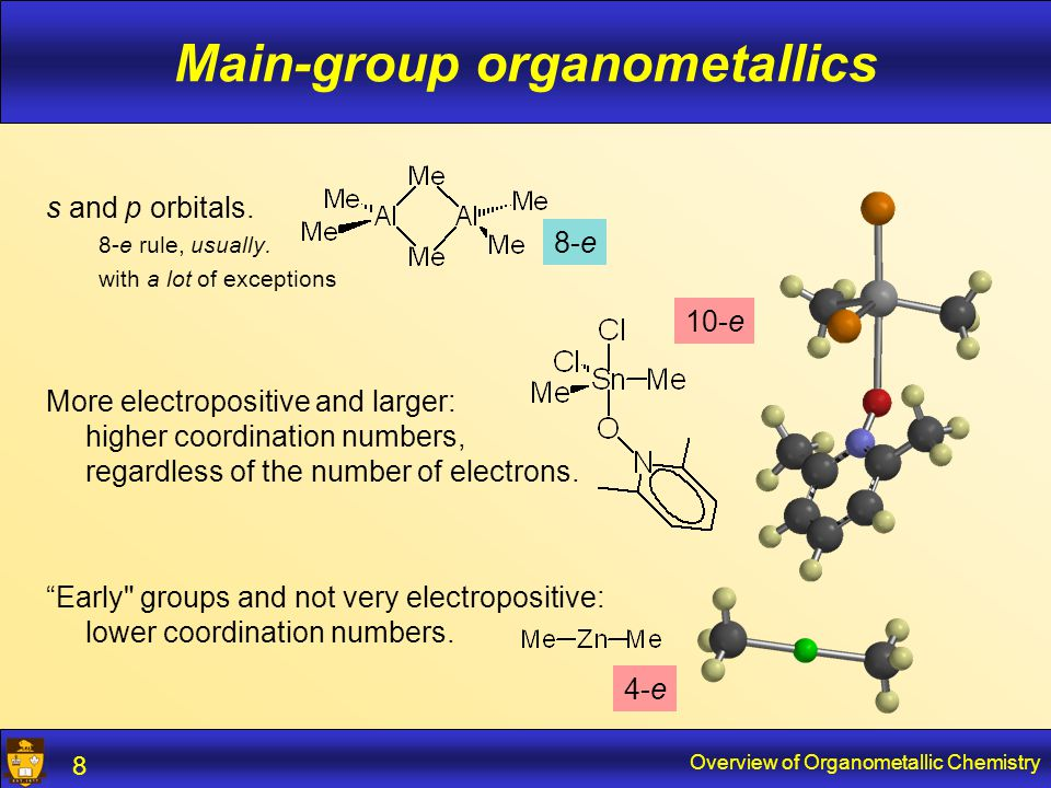 Overview of Organometallic Chemistry 9 Main-group organometallics Metal is the  + side of the M-C bond.