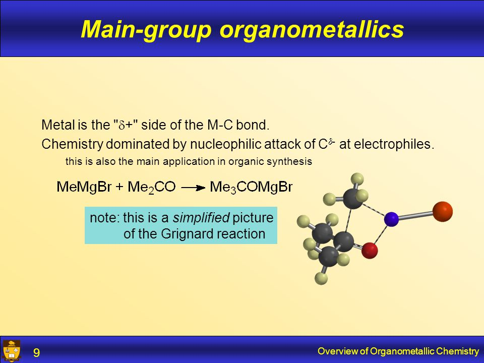 Overview of Organometallic Chemistry 10 Main-group organometallics M-M multiple bonds are fairly weak and rather reactive they are a curiosity and relatively unimportant, certainly compared to C-C multiple bonds Bond strengths in kcal/mol: C-C85C=C150 N-N40N=N100 P-P50P=P75 Multiple-bonded compounds often have unusual geometries