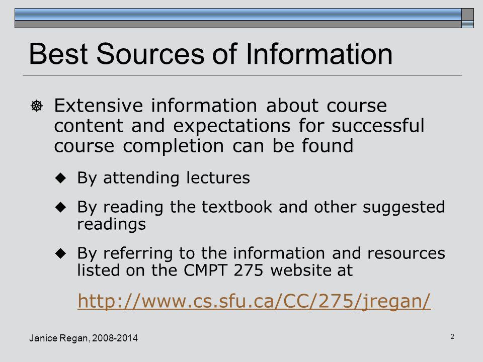 Janice Regan, 2008-2014 13 Example Deliverable Description (2)