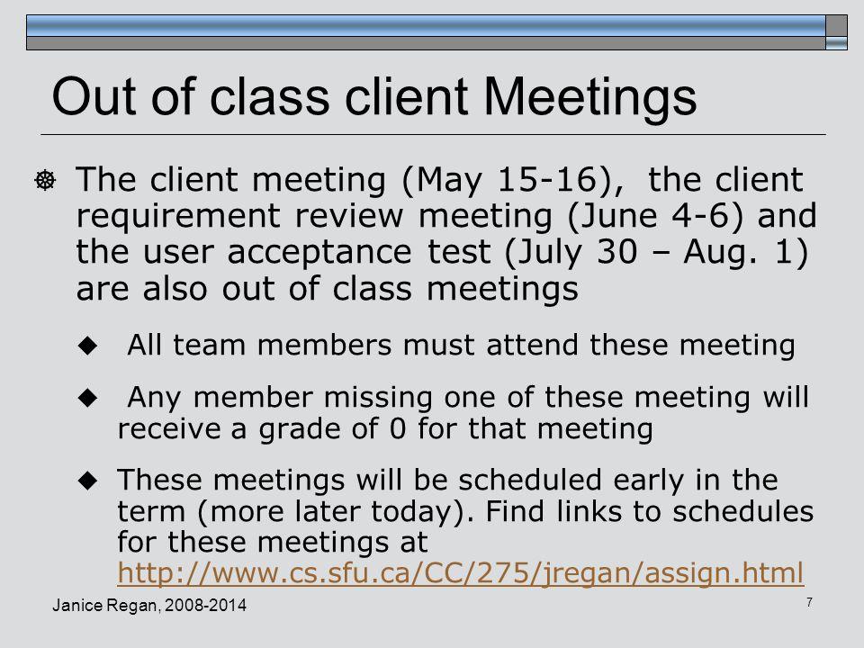 Janice Regan, 2008-2014 18 Instructors Schedule