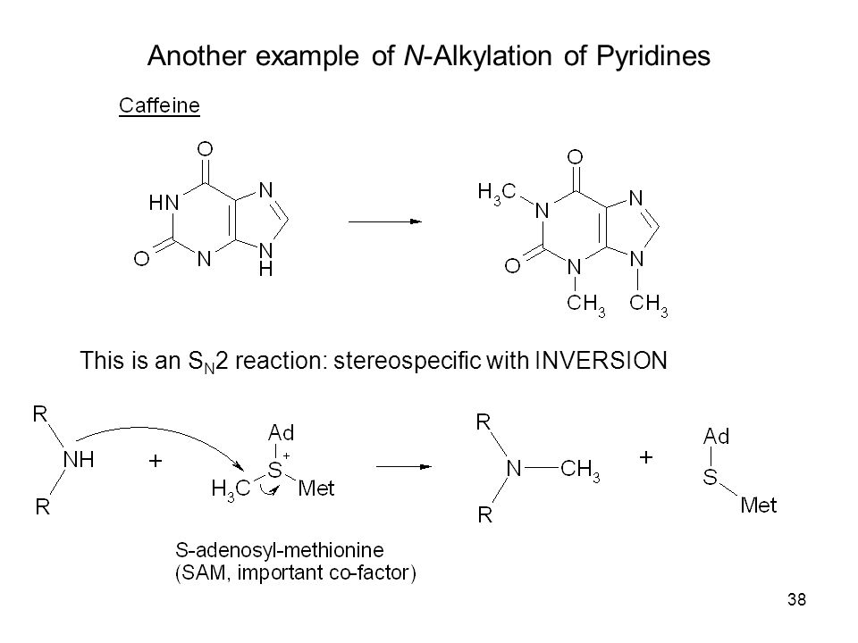 38 Another example of N-Alkylation of Pyridines This is an S N 2 reaction: stereospecific with INVERSION