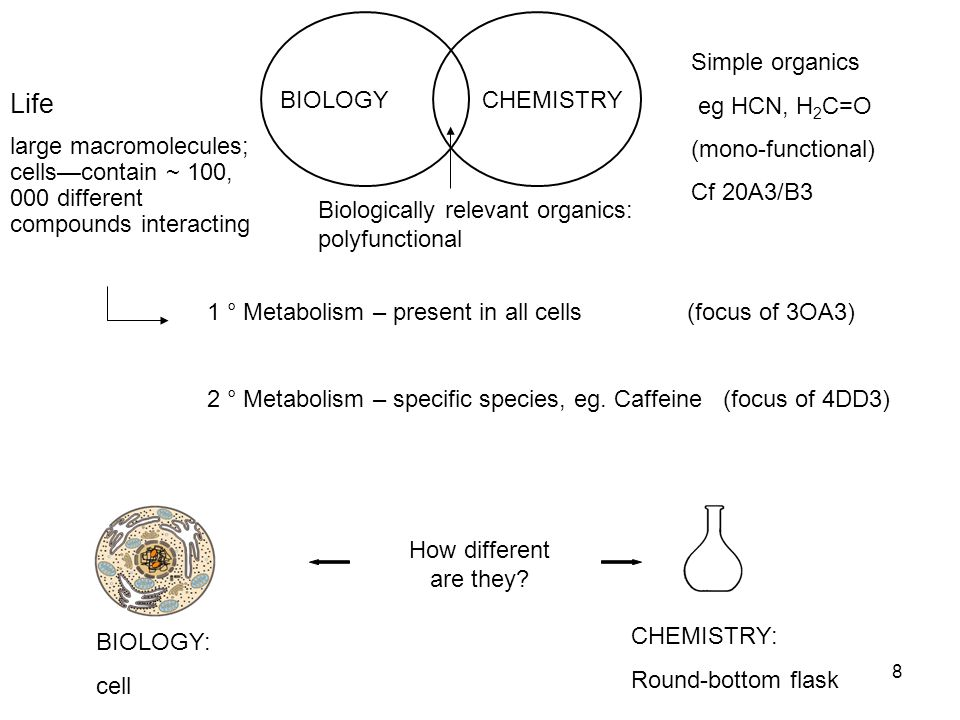 8 BIOLOGYCHEMISTRY Simple organics eg HCN, H 2 C=O (mono-functional) Cf 20A3/B3 Biologically relevant organics: polyfunctional Life large macromolecules; cells—contain ~ 100, 000 different compounds interacting 1 ° Metabolism – present in all cells (focus of 3OA3) 2 ° Metabolism – specific species, eg.