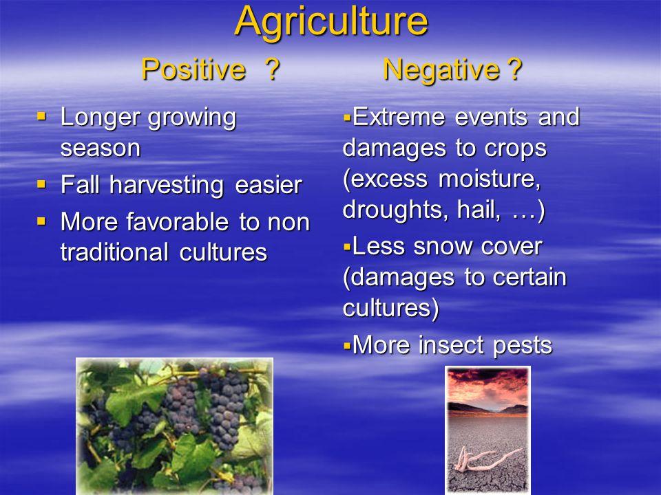 Agriculture Positive . Negative .