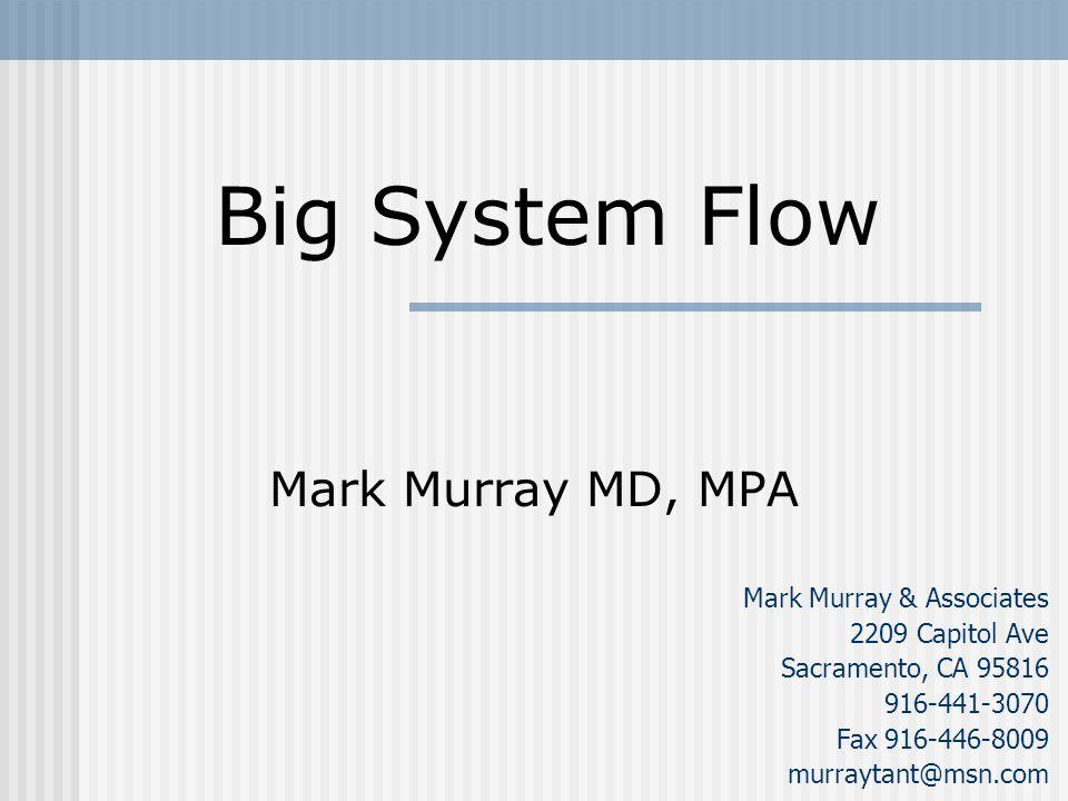 Mark Murray MD, MPA Mark Murray & Associates 2209 Capitol Ave Sacramento, CA 95816 916-441-3070 Fax 916-446-8009 murraytant@msn.com Big System Flow