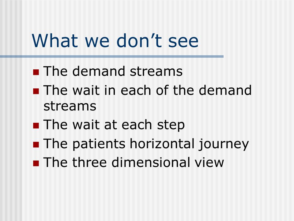 What we don't see The demand streams The wait in each of the demand streams The wait at each step The patients horizontal journey The three dimensional view