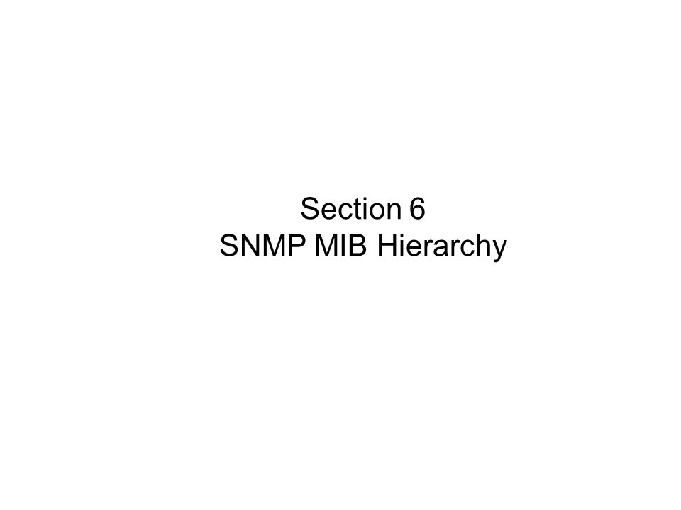 Section 6 SNMP MIB Hierarchy