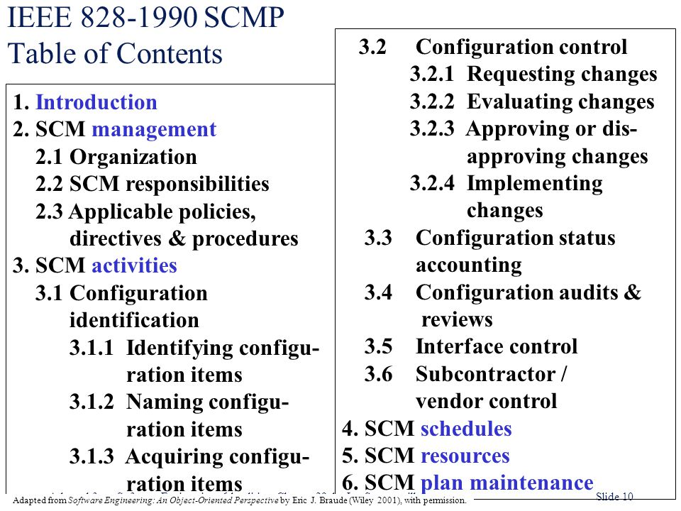 Adapted from Software Engineering, 6th edition. Chapter 29, by Ian Sommerville Slide 10 IEEE 828-1990 SCMP Table of Contents 3.2 Configuration control