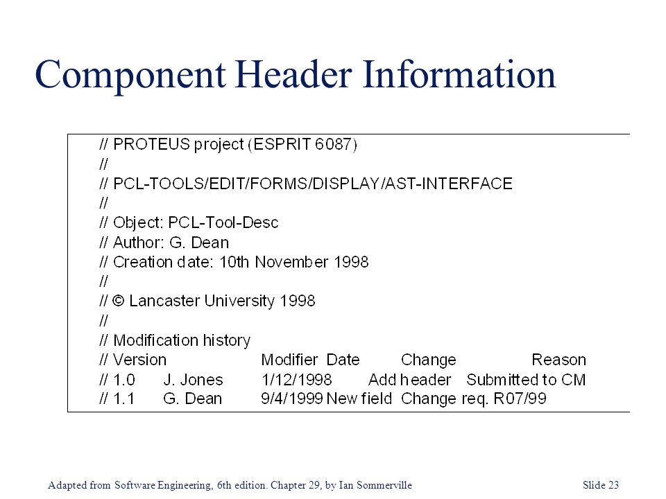 Adapted from Software Engineering, 6th edition. Chapter 29, by Ian Sommerville Slide 23 Component Header Information