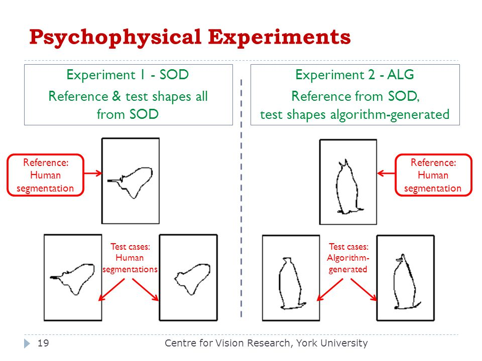 Psychophysical Experiments Experiment 1 - SOD Reference & test shapes all from SOD Experiment 2 - ALG Reference from SOD, test shapes algorithm-genera