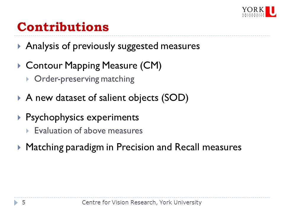 Contributions Centre for Vision Research, York University5  Analysis of previously suggested measures  Contour Mapping Measure (CM)  Order-preservi