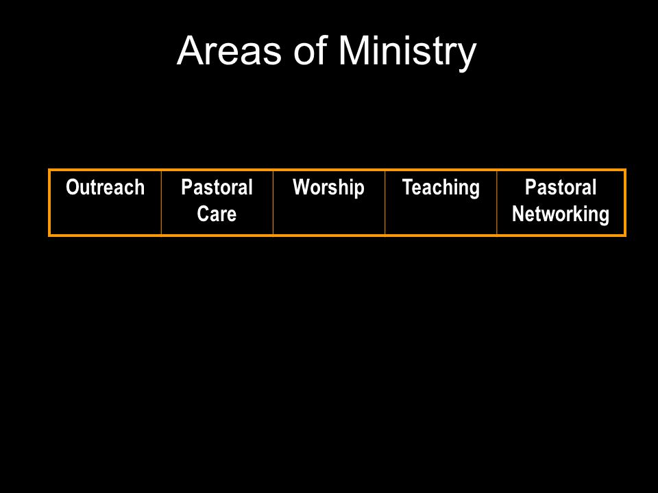 Areas of Ministry Investment of Time OutreachPastoral Care WorshipTeachingPastoral Networking 25%15%20%15%25%