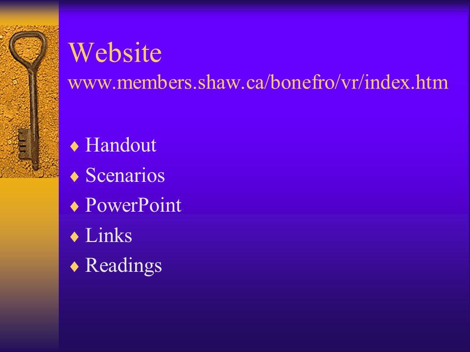 Website www.members.shaw.ca/bonefro/vr/index.htm  Handout  Scenarios  PowerPoint  Links  Readings