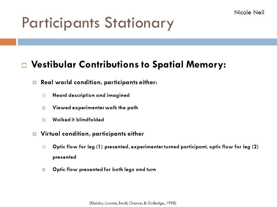 Participants Stationary  Vestibular Contributions to Spatial Memory:  Real world condition, participants either: 1) Heard description and imagined 2