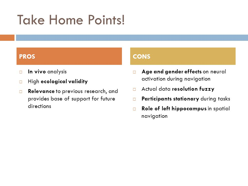 Take Home Points!  In vivo analysis  High ecological validity  Relevance to previous research, and provides base of support for future directions 
