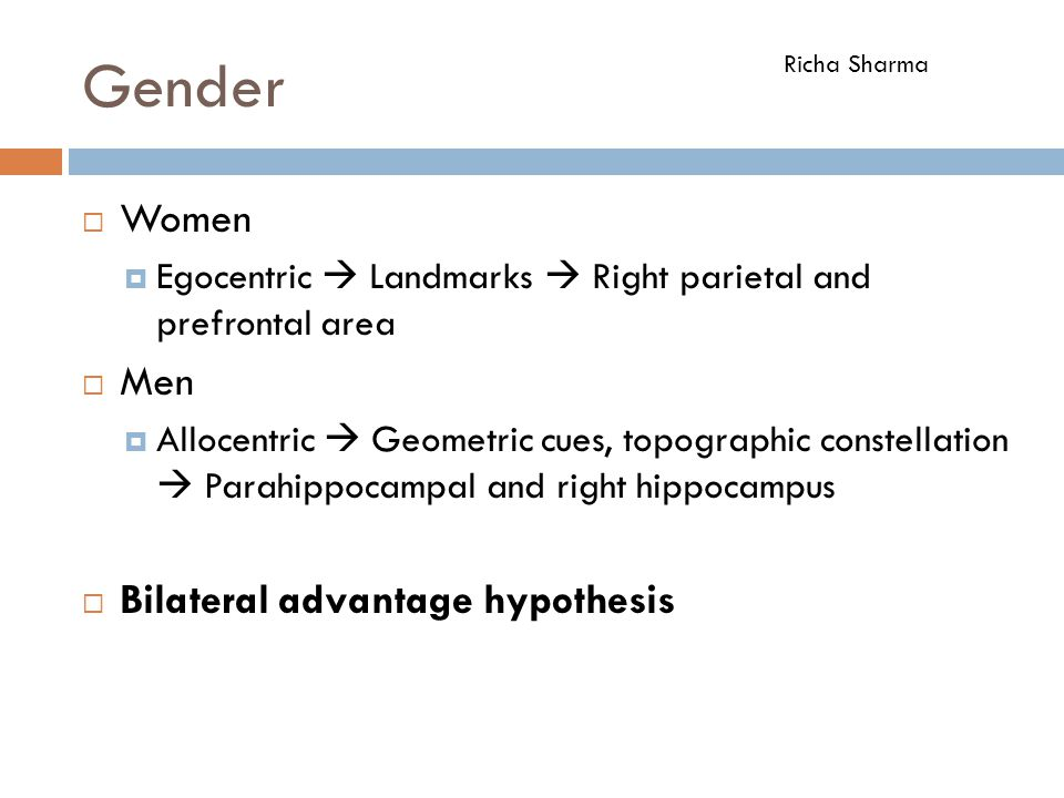 Gender  Women  Egocentric  Landmarks  Right parietal and prefrontal area  Men  Allocentric  Geometric cues, topographic constellation  Parahip