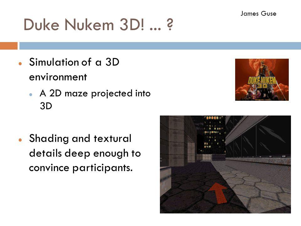 Duke Nukem 3D!... ? Simulation of a 3D environment A 2D maze projected into 3D Shading and textural details deep enough to convince participants. Jame