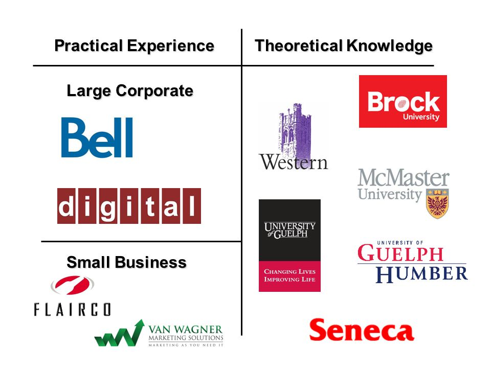 Practical Experience Theoretical Knowledge Small Business Large Corporate
