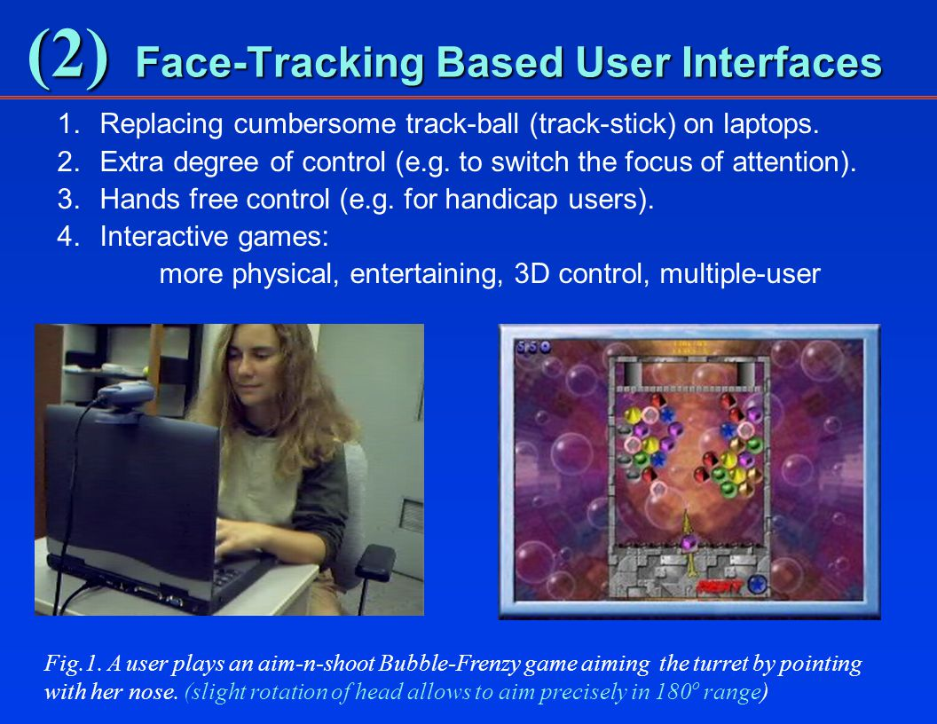 (2) Face-Tracking Based User Interfaces 1.Replacing cumbersome track-ball (track-stick) on laptops.