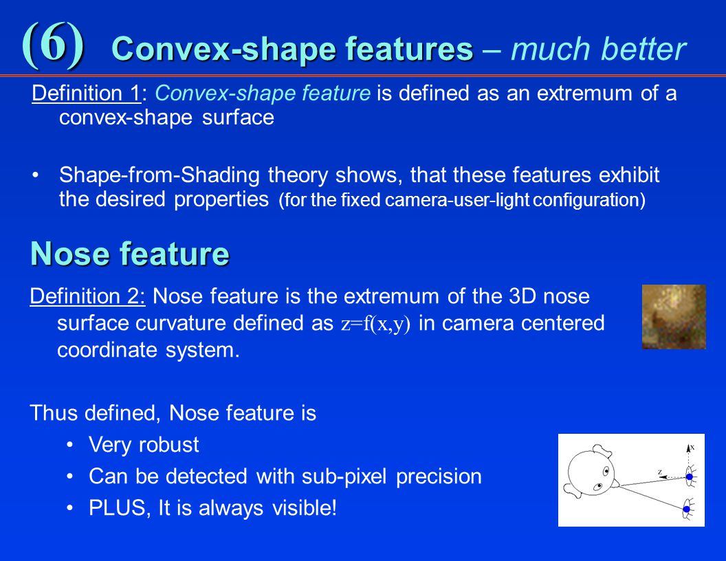 (6) Convex-shape features Convex-shape features – much better Definition 1: Convex-shape feature is defined as an extremum of a convex-shape surface Shape-from-Shading theory shows, that these features exhibit the desired properties (for the fixed camera-user-light configuration) Nose feature Definition 2: Nose feature is the extremum of the 3D nose surface curvature defined as z=f(x,y) in camera centered coordinate system.