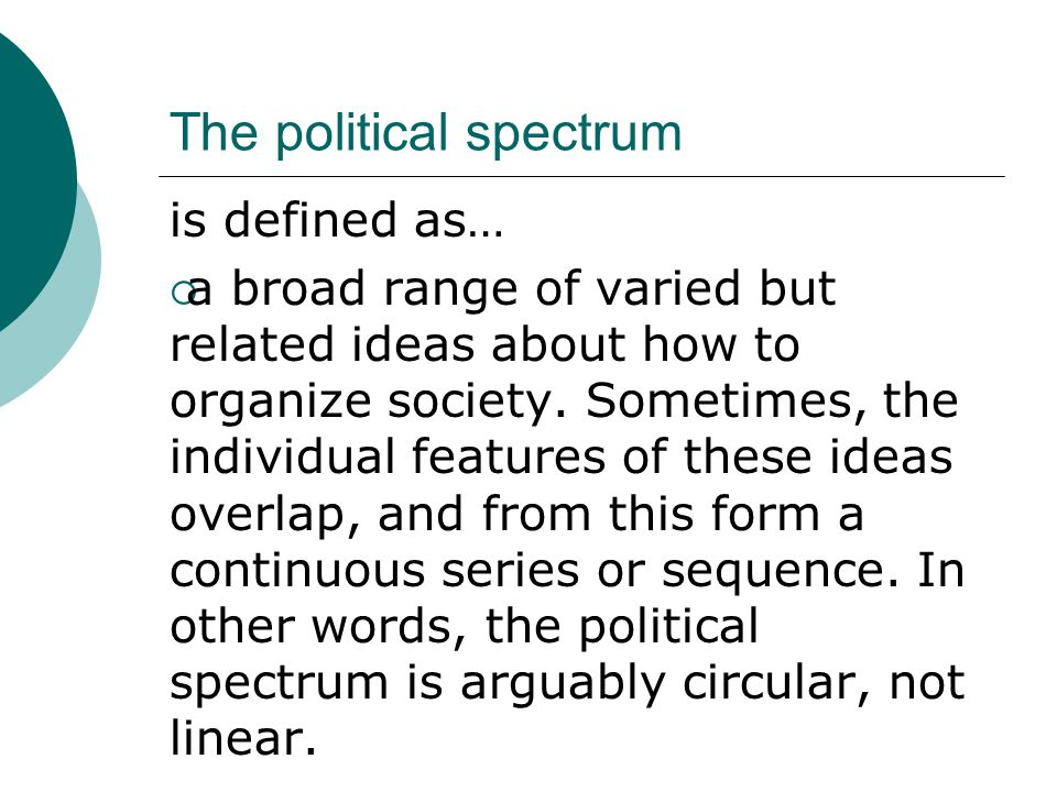 The political spectrum is defined as…  a broad range of varied but related ideas about how to organize society.