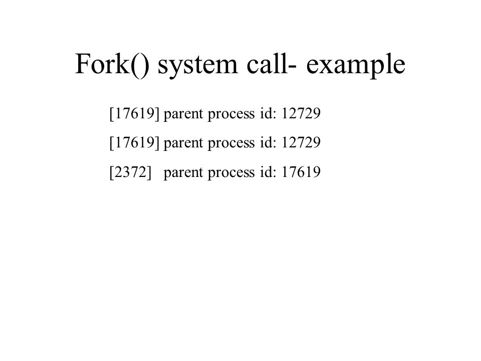 Fork() system call- example [17619] parent process id: 12729 [2372] parent process id: 17619