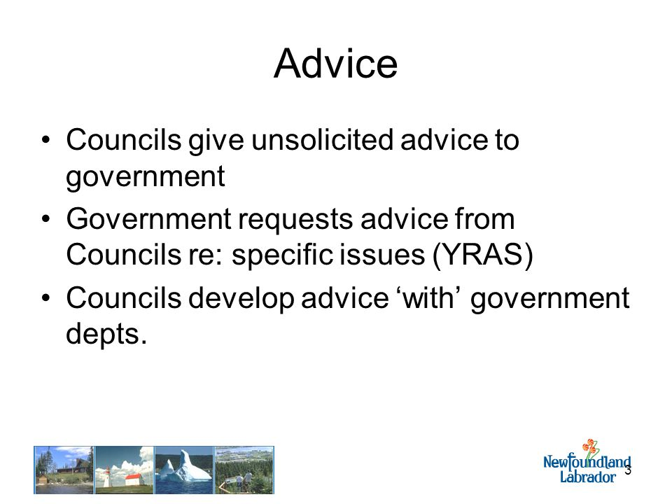3 Advice Councils give unsolicited advice to government Government requests advice from Councils re: specific issues (YRAS) Councils develop advice 'with' government depts.