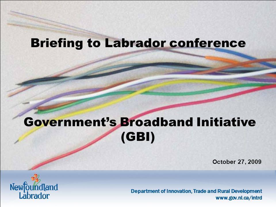 Department of Innovation, Trade and Rural Development   Briefing to Labrador conference Government's Broadband Initiative (GBI) October 27, 2009