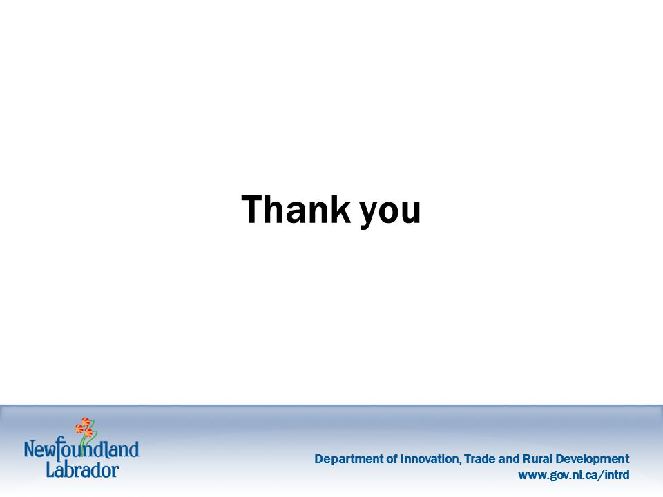 Department of Innovation, Trade and Rural Development   Thank you
