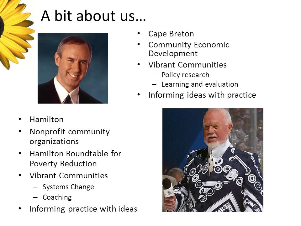 A bit about us… Hamilton Nonprofit community organizations Hamilton Roundtable for Poverty Reduction Vibrant Communities – Systems Change – Coaching Informing practice with ideas Cape Breton Community Economic Development Vibrant Communities – Policy research – Learning and evaluation Informing ideas with practice