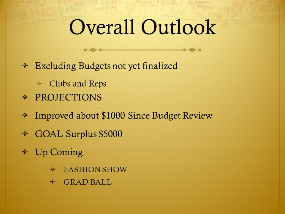 Overall Outlook  Excluding Budgets not yet finalized  Clubs and Reps  PROJECTIONS  Improved about $1000 Since Budget Review  GOAL Surplus $5000  Up Coming  FASHION SHOW  GRAD BALL