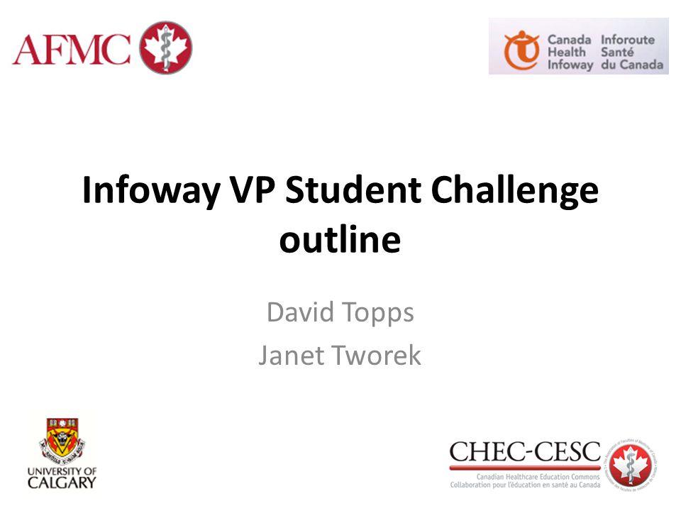 Infoway VP Student Challenge outline David Topps Janet Tworek