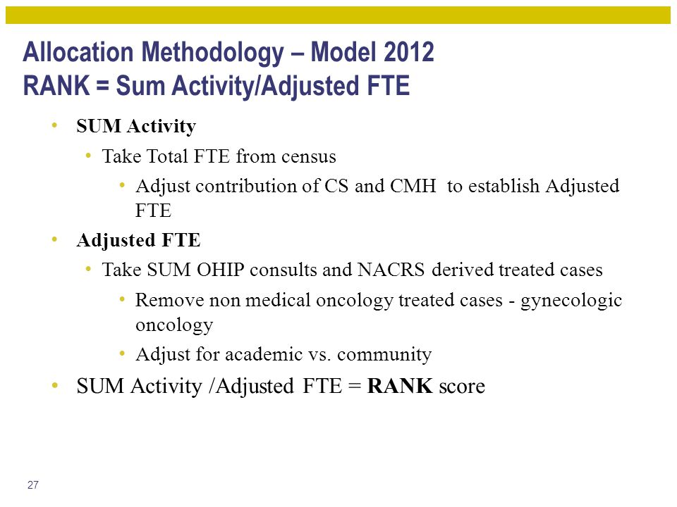 Allocation Methodology – Model 2012 RANK = Sum Activity/Adjusted FTE SUM Activity Take Total FTE from census Adjust contribution of CS and CMH to establish Adjusted FTE Adjusted FTE Take SUM OHIP consults and NACRS derived treated cases Remove non medical oncology treated cases - gynecologic oncology Adjust for academic vs.