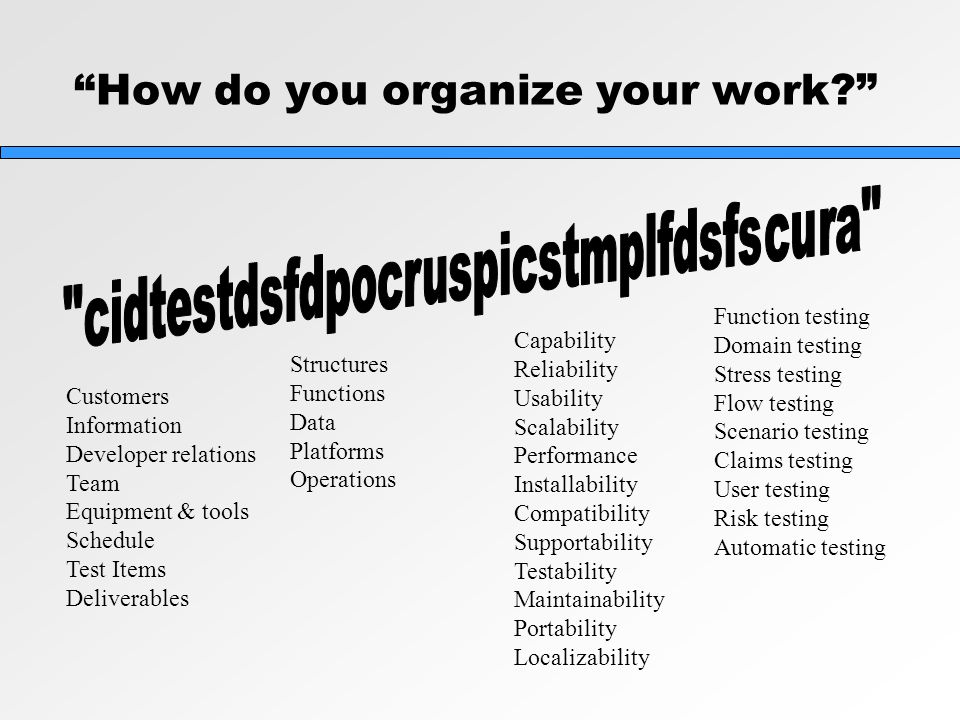How do you organize your work Customers Information Developer relations Team Equipment & tools Schedule Test Items Deliverables Structures Functions Data Platforms Operations Capability Reliability Usability Scalability Performance Installability Compatibility Supportability Testability Maintainability Portability Localizability Function testing Domain testing Stress testing Flow testing Scenario testing Claims testing User testing Risk testing Automatic testing