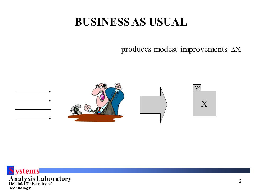 S ystems Analysis Laboratory Helsinki University of Technology 2 SYSTEM X BUSINESS AS USUAL produces modest improvements  X XX