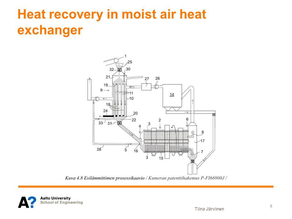 Heat recovery in moist air heat exchanger Tiina Järvinen 6