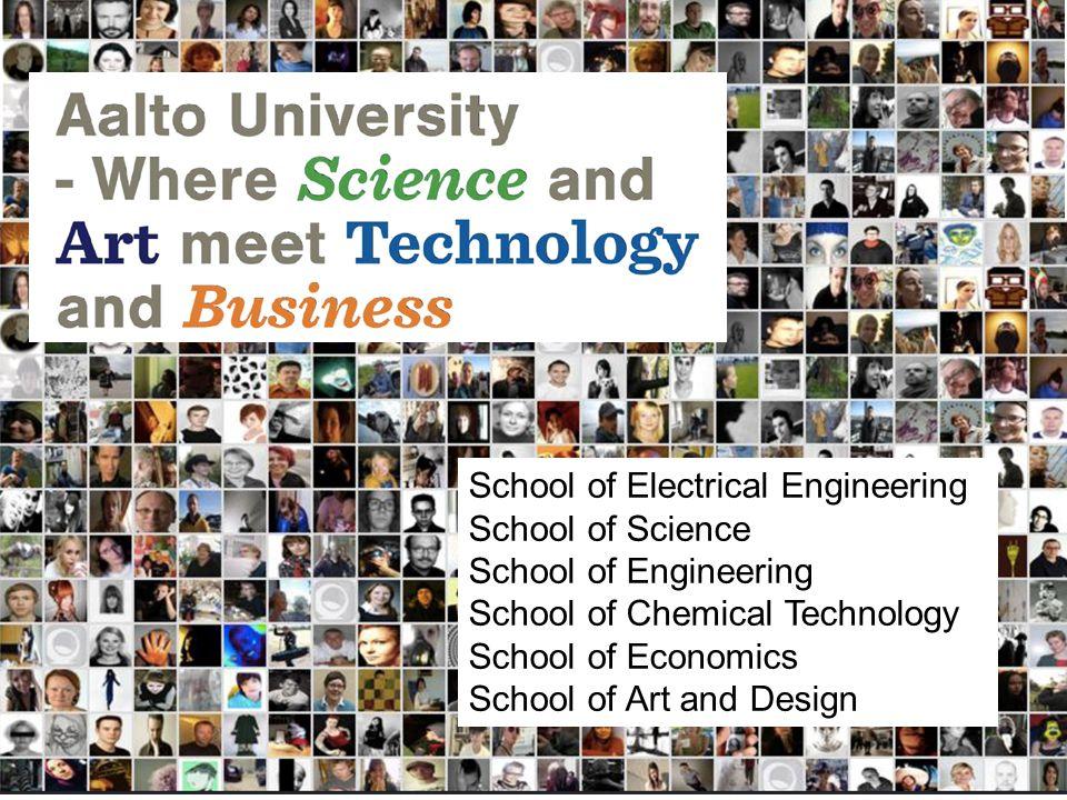School of Electrical Engineering School of Science School of Engineering School of Chemical Technology School of Economics School of Art and Design