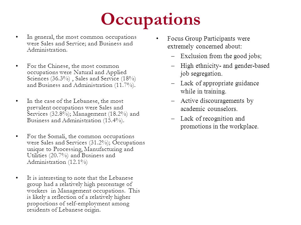 Occupations In general, the most common occupations were Sales and Service; and Business and Administration.