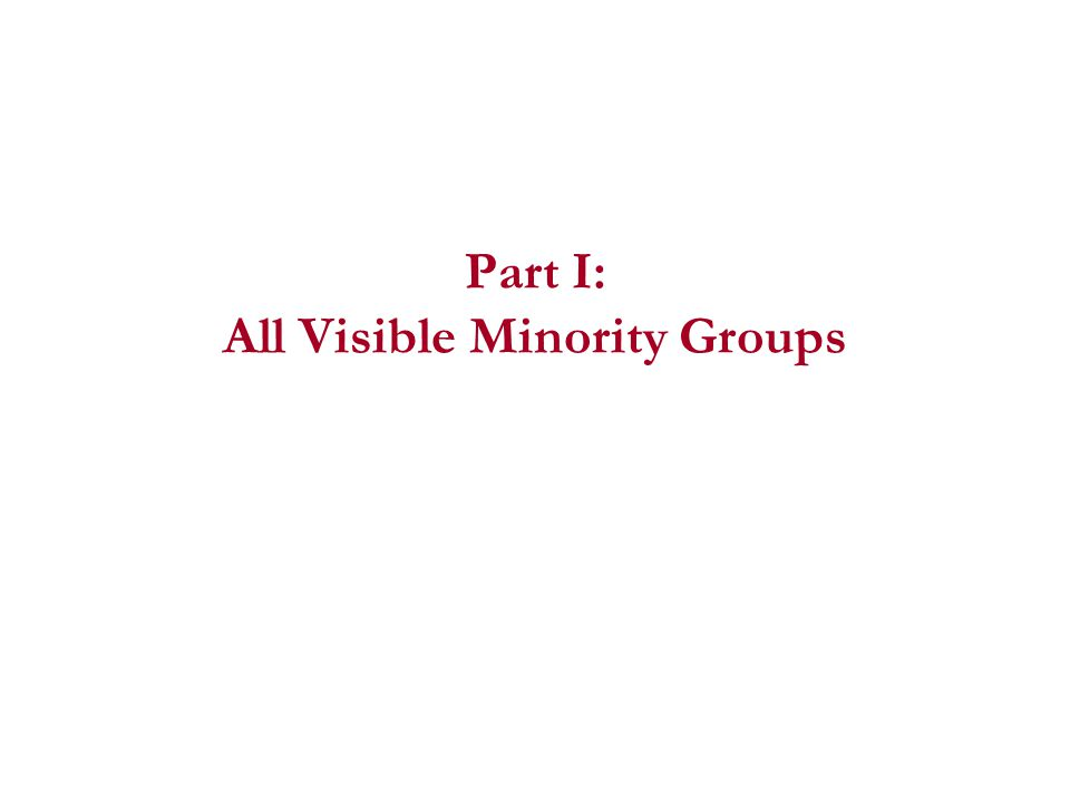 Part I: All Visible Minority Groups