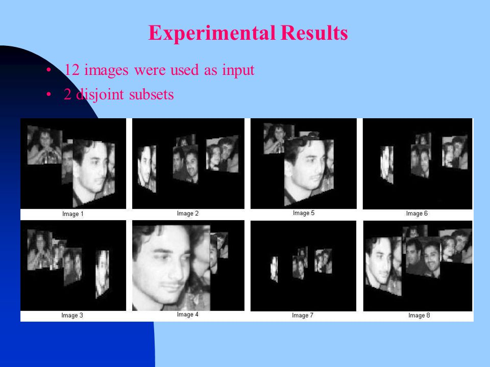 12 images were used as input 2 disjoint subsets Experimental Results