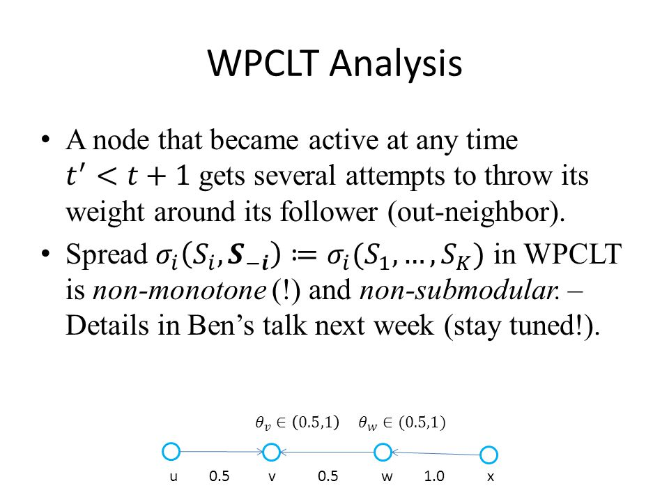 WPCLT Analysis u 0.5 v 0.5 w 1.0 x