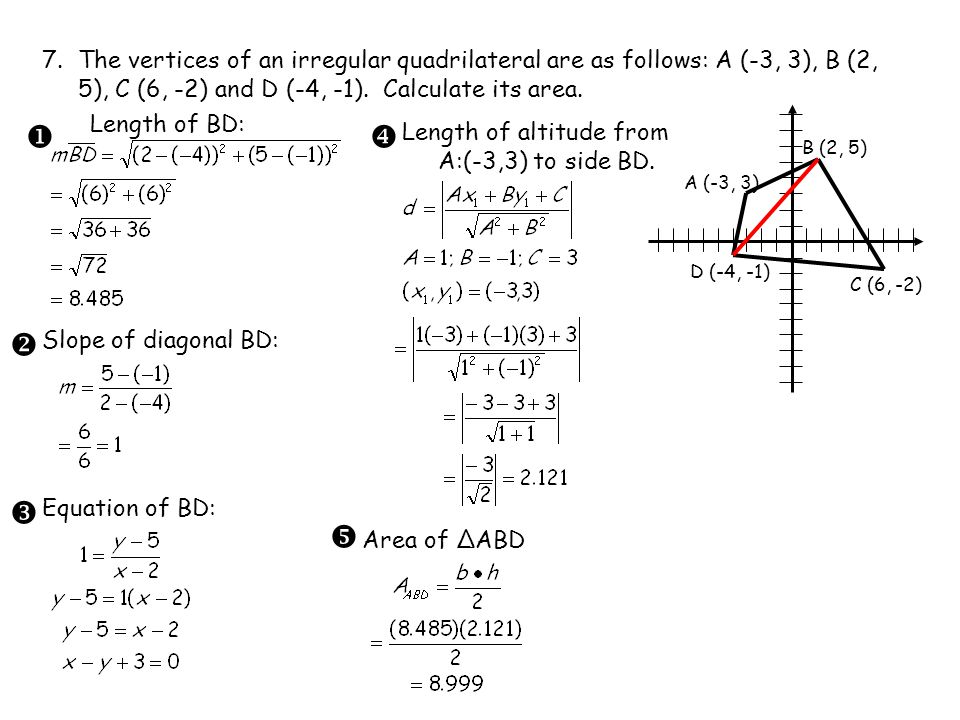 7.The vertices of an irregular quadrilateral are as follows: A (-3, 3), B (2, 5), C (6, -2) and D (-4, -1).