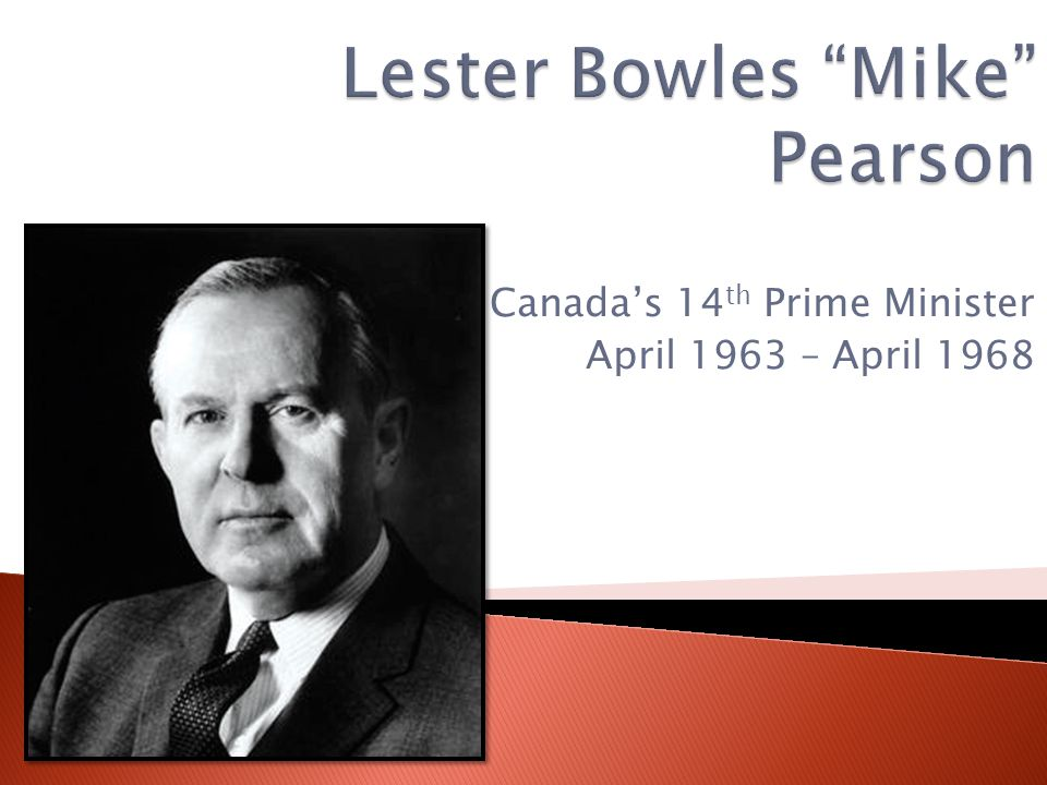 Canada's 14 th Prime Minister April 1963 – April 1968