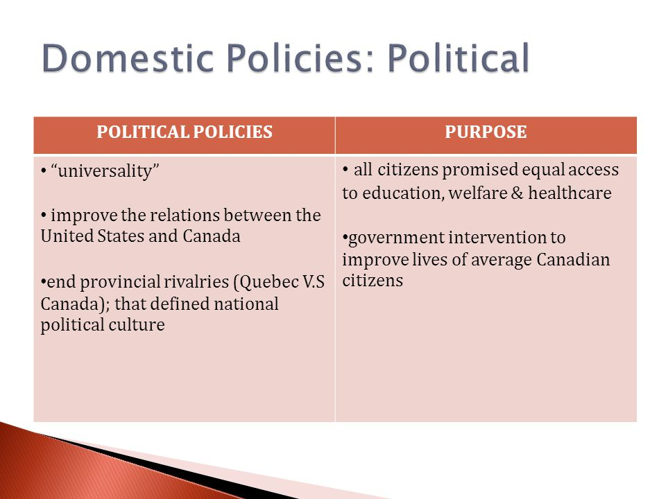 POLITICAL POLICIESPURPOSE universality improve the relations between the United States and Canada end provincial rivalries (Quebec V.S Canada); that defined national political culture all citizens promised equal access to education, welfare & healthcare government intervention to improve lives of average Canadian citizens