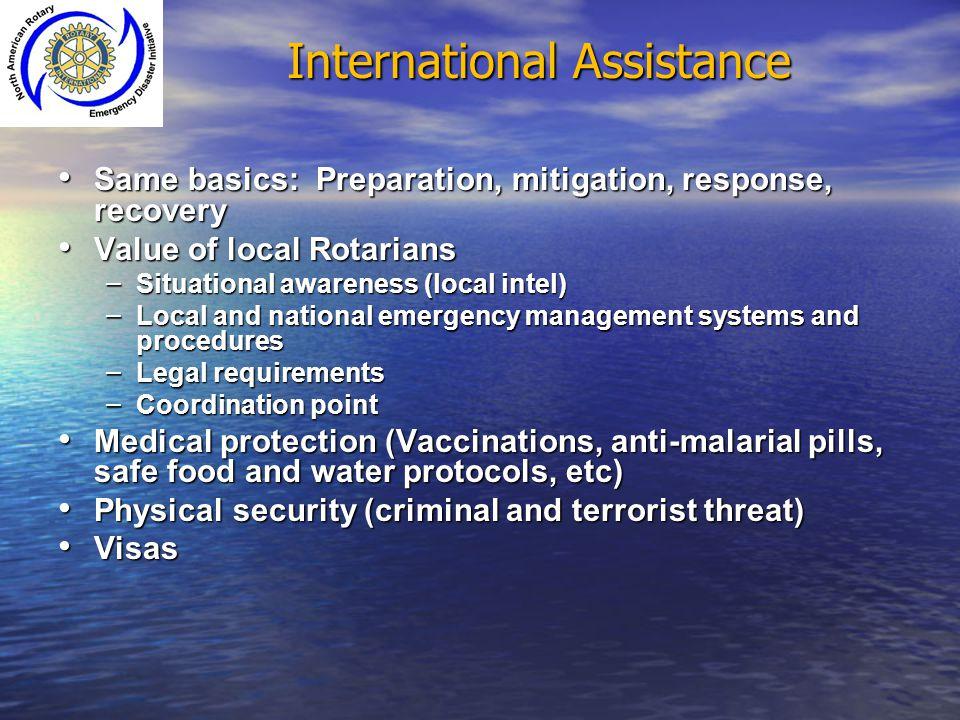 International Assistance Same basics: Preparation, mitigation, response, recovery Same basics: Preparation, mitigation, response, recovery Value of lo