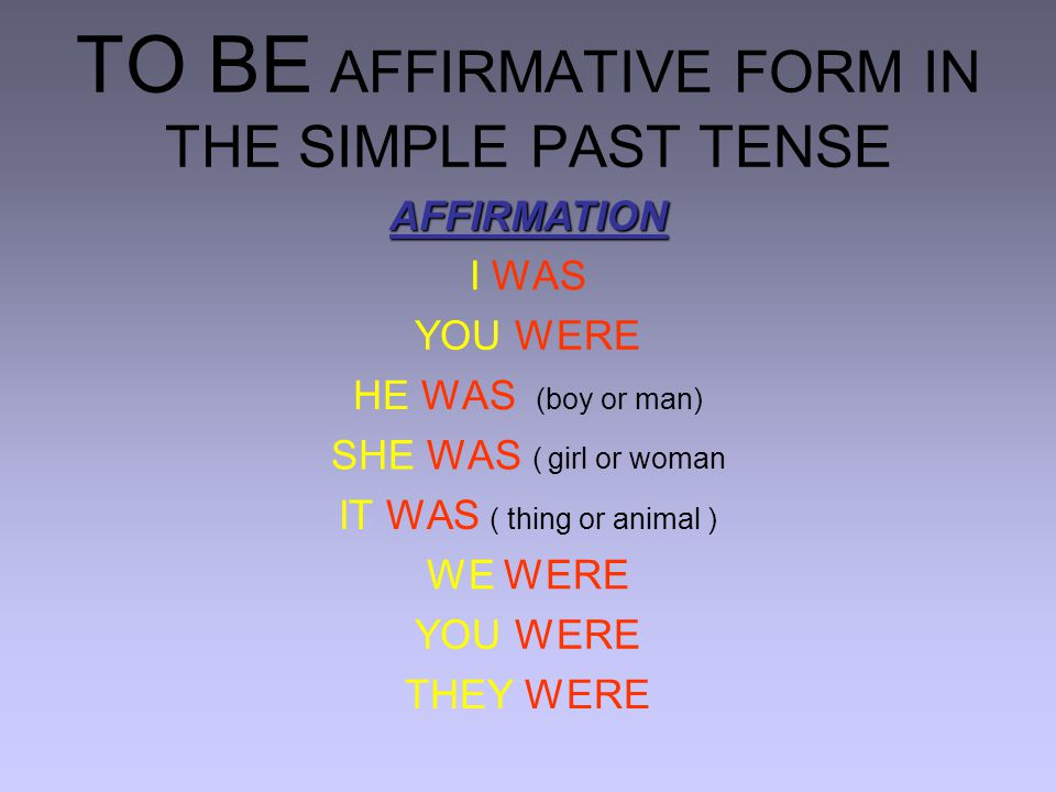 TO BE AFFIRMATIVE FORM IN THE SIMPLE PAST TENSE AFFIRMATION I WAS YOU WERE HE WAS (boy or man) SHE WAS ( girl or woman IT WAS ( thing or animal ) WE WERE YOU WERE THEY WERE