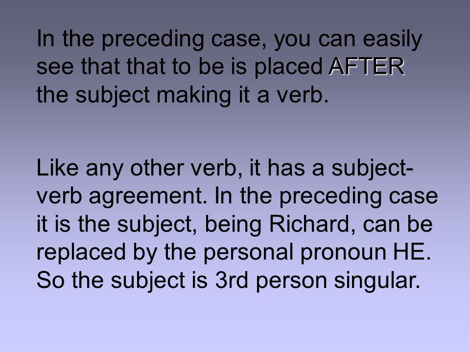 AFTER In the preceding case, you can easily see that that to be is placed AFTER the subject making it a verb.