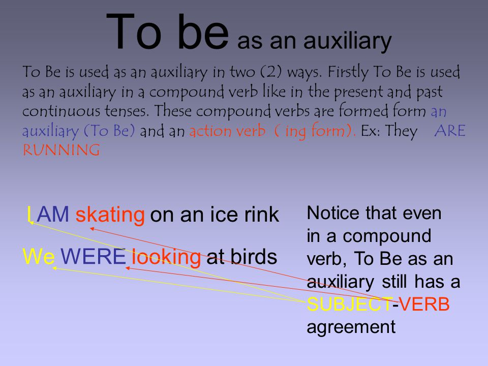To be as an auxiliary To Be is used as an auxiliary in two (2) ways.