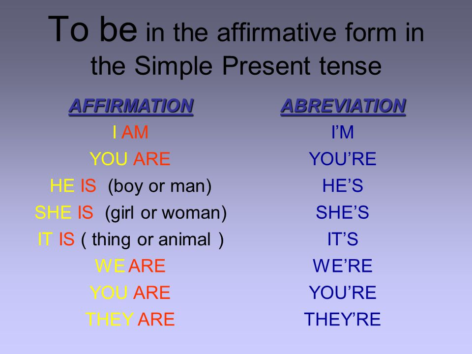 To be in the affirmative form in the Simple Present tense AFFIRMATIONABREVIATION I AMI'M YOU AREYOU'RE HE IS (boy or man)HE'S SHE IS (girl or woman)SHE'S IT IS ( thing or animal )IT'S WE AREWE'RE YOU AREYOU'RE THEY ARETHEY'RE